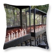 Candles Of Devotion Throw Pillow
