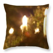 Candles Seen Through A Fir Tree Throw Pillow