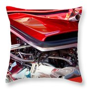 Candy Apple Red Horsepower - Ford Racing Engine Throw Pillow