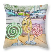Candy Bike Rack In Colored Pencil Throw Pillow