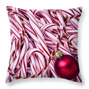 Candy Cane And Red Ornament Throw Pillow