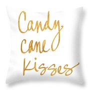 Candy Cane Kisses Throw Pillow