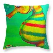 Candy Cane Seahorse Throw Pillow