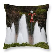 Candy Cane Water Fountain Throw Pillow