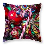 Candy Canes And Colorful Ornaments Throw Pillow