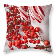 Candy Canes And Red Berries Throw Pillow