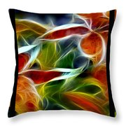 Candy Lily Fractal Triptych Throw Pillow
