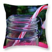 Candycane In Ball Jar Throw Pillow