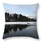 Winter Mountain Calm - Canmore, Alberta Throw Pillow