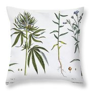 Cannabis And Flax Throw Pillow