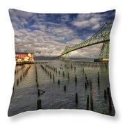 Cannery Pier Hotel And Astoria Bridge Throw Pillow