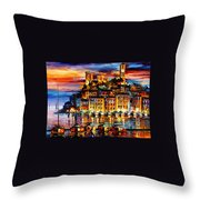 Cannes-france - Palette Knlfe Oil Painting On Canvas By Leonid Afremov Throw Pillow