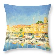 Cannes Harbour Throw Pillow