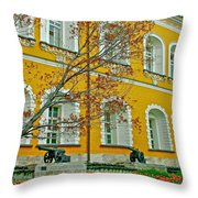 Cannon And Tulips Inside Kremlin In Moscow-russia Throw Pillow