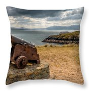 Cannon At Llanddwyn  Throw Pillow by Adrian Evans