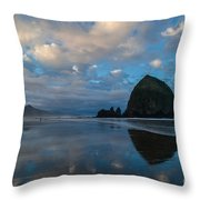 Cannon Beach Calm Morning Tidal Flats Throw Pillow
