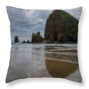 Cannon Beach Haystack Reflection Throw Pillow