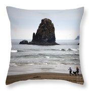 Cannon Beach Run Throw Pillow