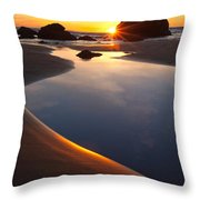 Cannon Beach Sunset Vertical Throw Pillow