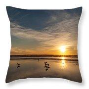 Cannon Beach Sunset Tidal Flats Throw Pillow
