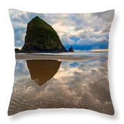 Cannon Beach With Storm Clouds In Oregon Coast Throw Pillow