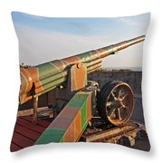 Cannon In Fortress Throw Pillow