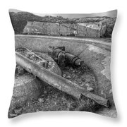 Cannon Remains From Ww2 Bw Throw Pillow