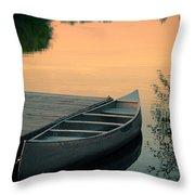 Canoe At A Dock At Sunset Throw Pillow by Jill Battaglia
