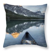 Canoe At Lower Waterfowl Lake With Throw Pillow
