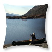 Canoe By The Lake Throw Pillow