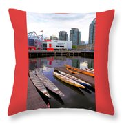 Canoe Club And Telus World Of Science In Vancouver Throw Pillow