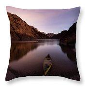 Canoe In Lake Near Shore, Arizona Throw Pillow