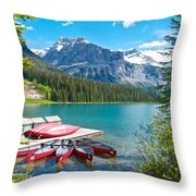 Canoe Livery On Emerald Lake In Yoho Np-bc Throw Pillow
