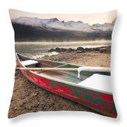 Canoe On Misty Fall Morning, Maligne Throw Pillow