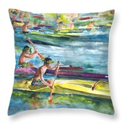 Canoe Race In Polynesia Throw Pillow