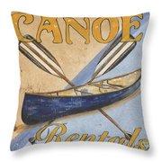 Canoe Rentals Throw Pillow