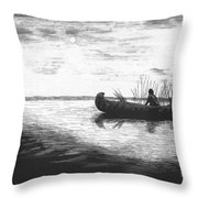 Canoe Silhouette Throw Pillow by Lawrence Tripoli