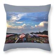 Canoe Sunset Throw Pillow by Stephanie  Varner