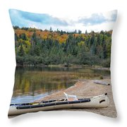 Canoe With An Engine Throw Pillow