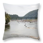 Canoeing On The Potomac River At Harpers Ferry Throw Pillow