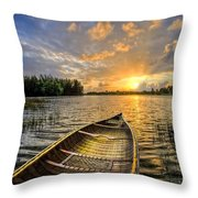 Canoeing At Sunrise Throw Pillow