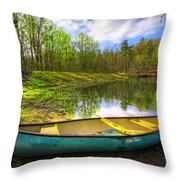 Canoeing At The Lake Throw Pillow