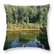 Canoeing Michigan's Au Sable Throw Pillow