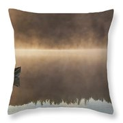 Canoeist On A Golden Misty Morning Throw Pillow