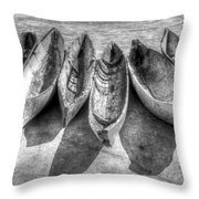 Canoes In Black And White Throw Pillow