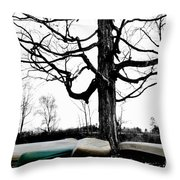 Canoes In Winter Throw Pillow
