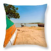 Canoes On A Lakeshore Throw Pillow