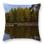 Canoes On The Shore At Loch An Eilein Throw Pillow