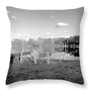 Canoes On The Shore Throw Pillow