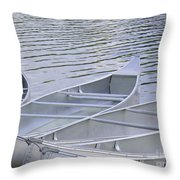 Canoes Waiting Throw Pillow